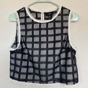 FATE cropped sleeveless layered checker blouse